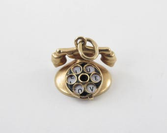 14K Yellow Gold Rotary Telephone vintage Charm Pendant - Yellow Gold Phone Charm