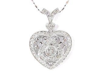 "14k White Gold Heart Diamond Necklace - 14k white gold Diamond Heart Pendant Chain 18"""