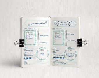 Bullet Journal Printable, Bullet Journal Kit, Bullet Journal Template, Bujo Inserts, Spreadsheet, Notebook Inserts, Bullet Journal Planner
