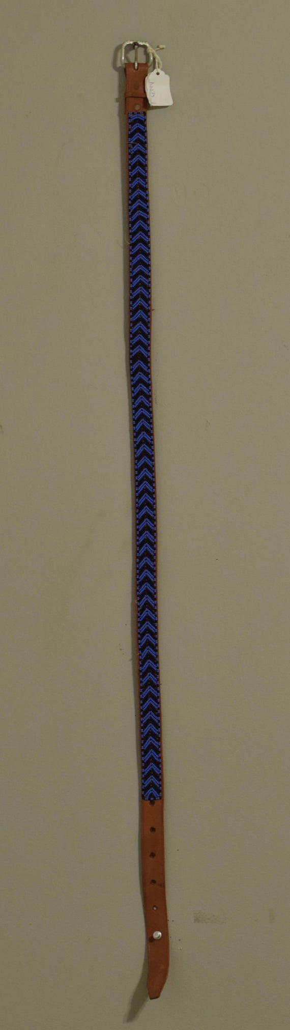 African Beaded Masai Leather Belt Handmade Men Women Royal Blue Navy Beads Slacks Pants Skirts Masai Leather Belts