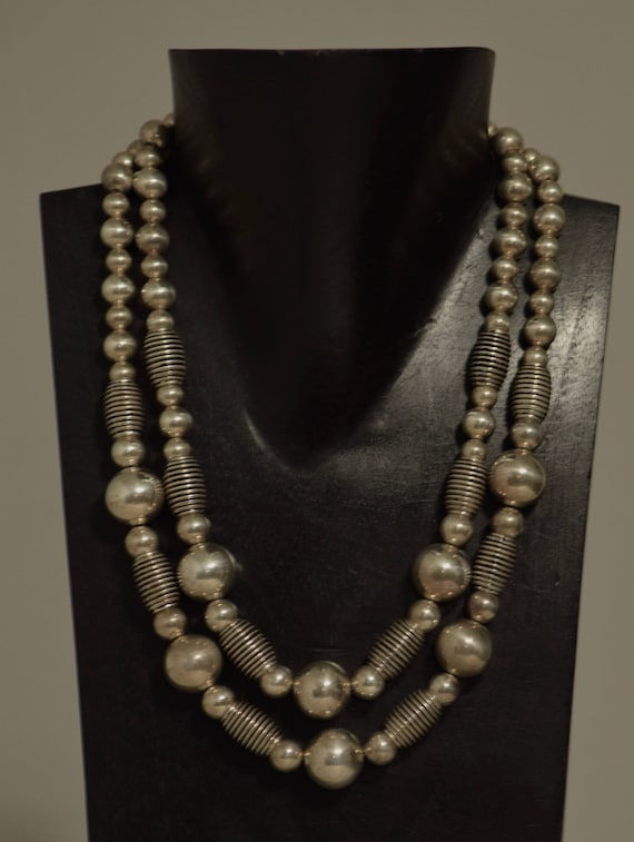 Necklace Double Strand Assorted Silver Beads Handmade Jewelry Silver Round Beads Antique Silve Tube Bead Necklace