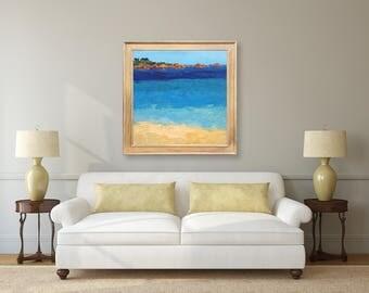 Ocean Painting Oil Painting Blue Abstract Art Beach Painting Beach Home Decor Modern Art Sea Painting Coastal Painting Large Painting