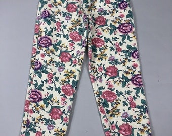 "Vintage 80s Express French Country Floral Print High Waist Mom Jeans Size 9 (28"" Waist)"