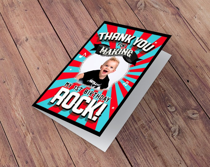 Thank You Card - Greeting Card -  rockstar thank you card - baby shower Thank you - Birthday Party, pop star party, rock star birthday