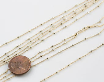 Gold Fill Faceted Beaded Satellite Chain -- By the Foot