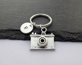 Camera Keyring, Initial Keyring, Photographer Keyring, Hand Stamped, Photography Keyring, Photography Keychain,Personalised,Photography Gift