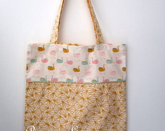 Tote Bag yellow origami and swans