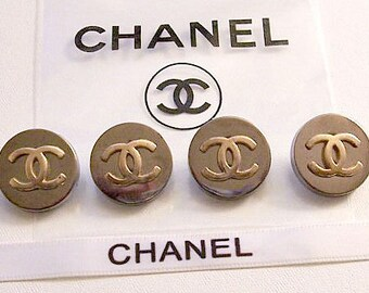"""4 Coco Chanel Paris 19mm 3/4"""" Large Round Brass Metal Vintage Aged Authentic Button Lot Set Gold Tone Raised Ribbed CC Logo"""
