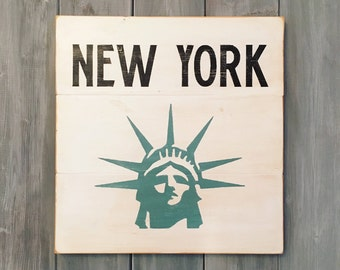 New York Wood Sign | Vintage Distressed | Black on White | Statue of Liberty | NYC | New York | Wood Sign