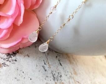 Dainty Rose Quartz Teardrop Dangle Earrings