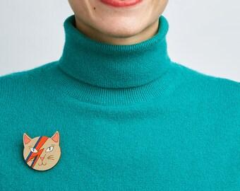 David Bowie Brooch - David Bowie jewelry - Cat brooch - David Bowie cat - Ziggy stardust cat - Aladdin Sane pin - Bowie fan gift - Cat lover