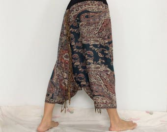 Touch Soft Silk..Touch Soft Silk..Turquoise Green Brown Soft Silk Harem Pants with Leaf patterned (HR-597)