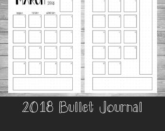 2018 Monthly Calendar - Bullet Journal