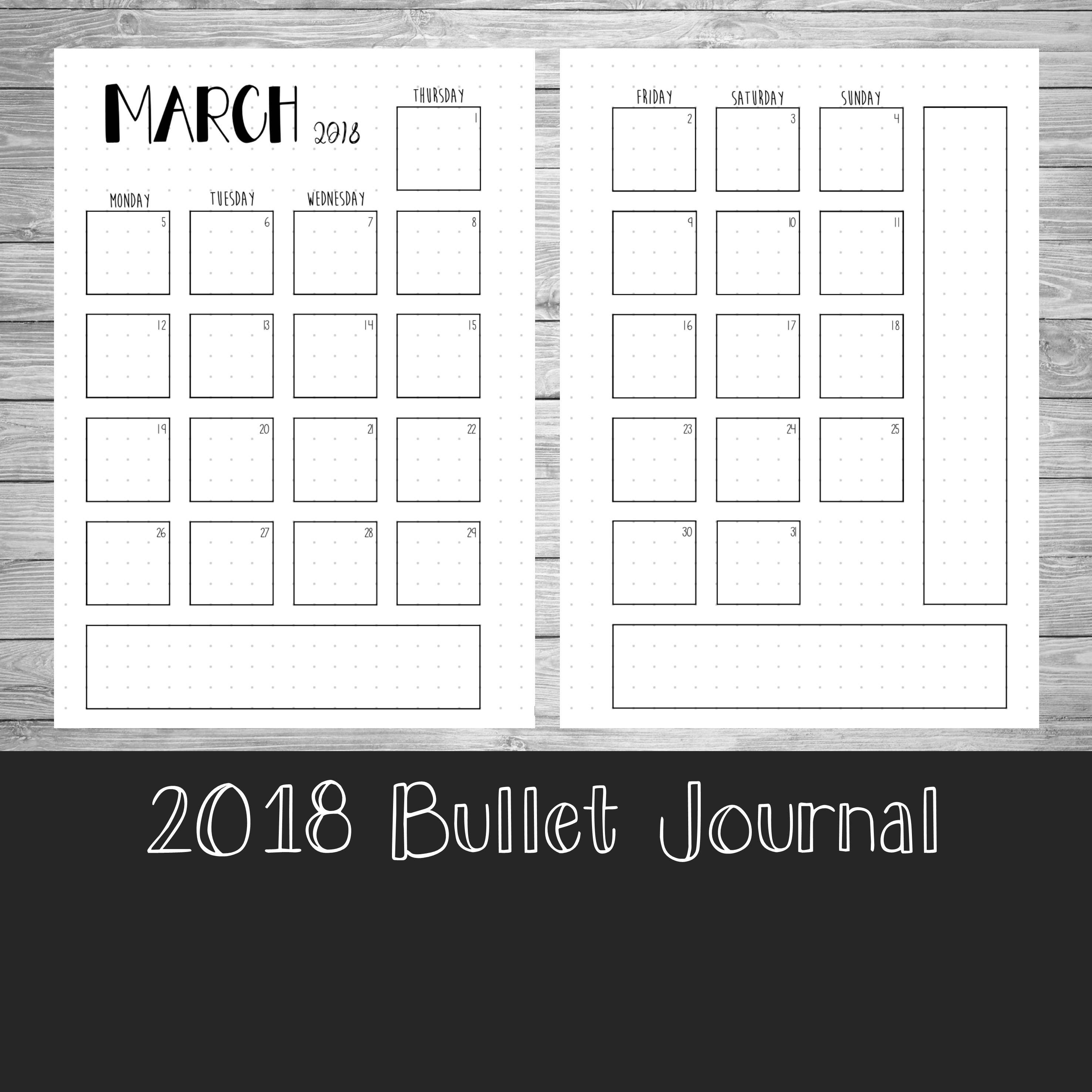 Calendar Bullet Journal 2018 : Monthly calendar bullet journal