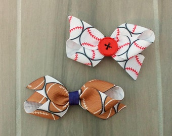 4 inch Baseball/Softball or Football Hair Bow: Customize to your team's colors, available with button or ribbon accent on alligator clip