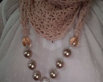 crochet scarf beige with necklace, scarves, jewelry, necklace, necklace scarf baktus