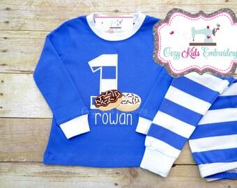 Birthday pajamas, Donut pajamas, Doughnut pajamas, girl pajamas, boy pajamas, girl pj, boy pj, spring pj, appliqué, embroidery