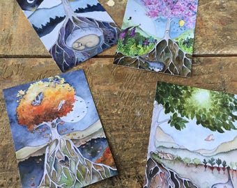 4 Seasonal Watercolors postcard Set
