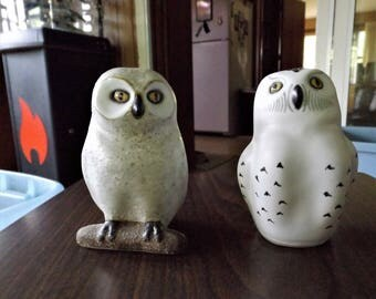 Rare POD Edgecomb Potters, Vintage Studio Pottery, Pottery Owl, Gift for Her, Wildlife Figurine, Signed, Stoneware, Ceramic Owls, White Owls