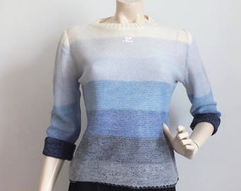 Courreges/sweater sleeves long top/blue woman/courreges vintage/camieu of blue/courreges in blue/tops and tshirts courreges/made in France