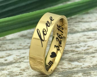 5mm Wedding Ring, Stainless Steel Wedding Ring, Gold Plated Stainless Steel  Wedding Ring, Unisex  Wedding Band, Pipe Cut