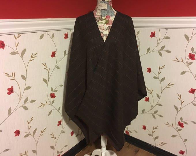 Irish Shawl - Celtic Wrap - Check Plaid Ruana - 100% Irish Wool -Tartan, Plaid - Checked