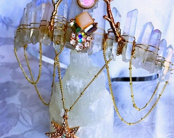 Crystal Crown, Mermaid Crown, Quartz Tiara, Christmas Crown, Quartz Crystal Crown, Bridal shower, Boho Crown, Festival Crown, Bridal tiara