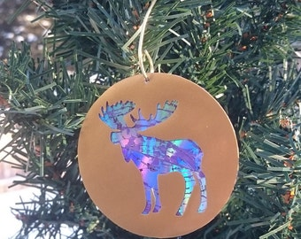 Recycled DVD Moose Ornament