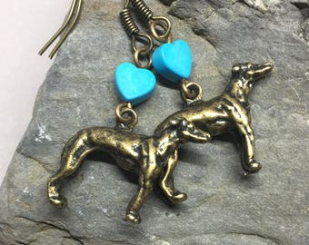 Greyhound Love; Greyhound Charm Earrings with Turquoise Hearts