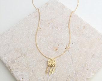 Boho Necklace,Dream Catcher Necklace,Gold Necklace,Tribal Necklace,Gold Boho Necklace,Hipster Jewelry,Feather Necklace,Dainty Necklace