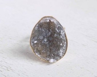 Druzy Ring, Natural Druzy Ring, Gray Druzy Ring, Large Crystal Ring, Boho Ring, Adjustable Ring, Gold Statement Ring, Christmas Gift, G3-34