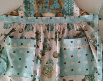 Girls Apron with Pockets Snowman Apron Girls In the Kitchen Girls Apron, Toddler Apron