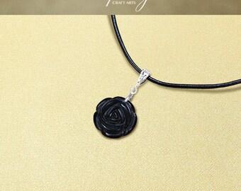 Protection pendant, Black Obsidian pendant necklace, Protection Jewelry, Carved Rose pendant, Negativity Neutralizer, InfinityCraftArts