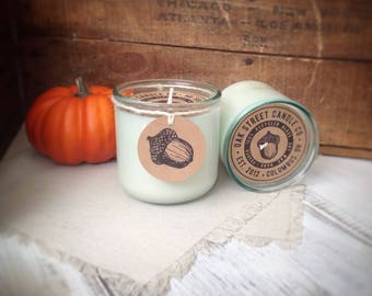 PUMPKIN PIE scented soy candle, Fall scented soy candle, pumpkin spice, Oak Street Candle Co., hand poured, recycled glass tumbler