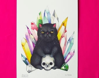 Black cat with skull and crystals limited edition print, digital art print