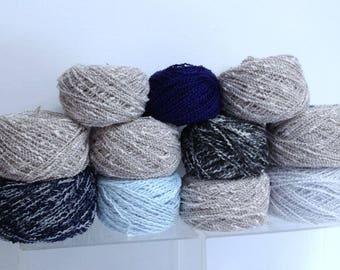 Tweed Wool Yarn Bundle Variety Yarn, Laura & Cindy Cotton Look Wool Blend DK, Wavey Yarn Textured Yarn Cakes for Hand Knitting and Fiber Art