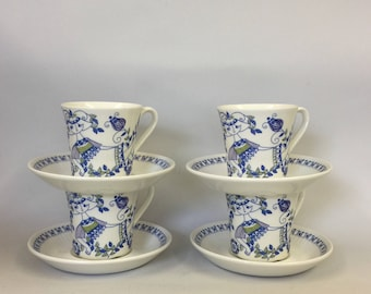Figgjo 'Lotte' Norway, set of 4 vintage cups & saucers