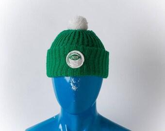 Vintage New York JETS Winter Snow Hat w/ PomPom || 60s 1970s era Ski Hat || NFL Jets Fans || Broadway Joe Namath Super Bowl III