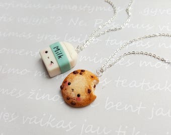 BFF Cookie and milk necklace, Friendship necklace, Cookie necklace, Miniature food jewelry, Best friend keychain, Kawaii necklace