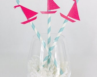 12 Sailboat Party Straws - Nautical - Bridal Shower - Birthday - Baby Shower - Last Sail Before the Veil - Ocean - Sailboat