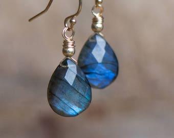 Blue Labradorite Drop Earrings in Silver, Gold or Rose Gold Filled, Tear Drop Dangle Earrings, Blue Flash Labradorite Jewellery