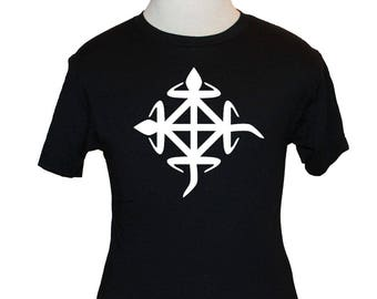 Adinkra Unity T-Shirt - Ghana West Africa - Black Shirt / White Symbol (S M L XL) - Premium Quality American Apparel or Gildan
