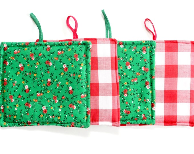 Featured listing image: Christmas Pot Holders, Hand Sewn Vintage Fabric Hot Pads
