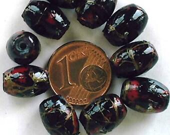 10 perles verre peint Ovales 11x8mm NOIR création bijoux