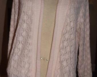 SALE Pale Pink Crochet Knit Cardigan Sweater Large