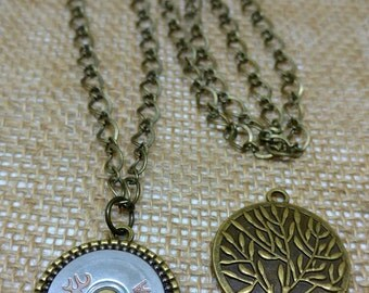 Tree of Life Buck Mark 12 Gauge Shotgun Shell Recycled 2-Sided Flip Necklace Antique Brass Family Tree Shootergirl Ammunition Jewelry