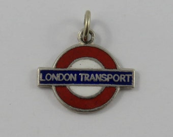 Enamel London Transport Logo Silver Vintage Charm For Bracelet