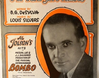 """April Showers - Al Jolson Vintage Sheet Music 1921 - from the Broadway Musical """"Bombo"""""""