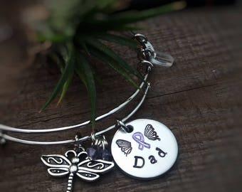 Pancreatic Cancer Awareness Bracelet, Cancer Awareness, Purple Ribbon Jewelry, Crohns Disease Awareness, Domestic Violence Awareness