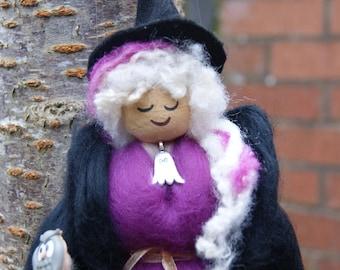 Halloween Witch. Samhain Witch. Pagan Doll. Goth Witch. Fibre Felt Witch. Fibre Felt Art. Handmade Witch. Merino Wool Witch Black Witch